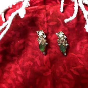 French Wire Earrings with Green Emerald Looking